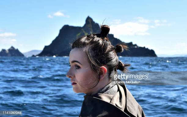 A member of the 501st Garrison dressed as the character Rey poses as she sails around Skellig Michael on May 4 2019 in Portmagee Ireland The latest...