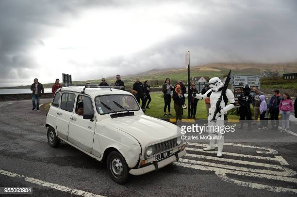 A member of the 501st Irish Legion dressed as a stormtrooper stages a mock check point on May 5 2018 in Portmagee Ireland The first ever Star Wars...