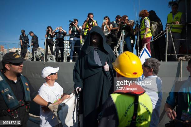A member of the 501st Legion Spanish Garrison dressed as a 'Darth Sidious' from the movie saga Star Wars is seen during a charity parade in favour of...
