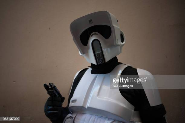 A member of the 501st Legion Spanish Garrison dressed as Stormtroopers from the movie saga Star Wars poses during a charity parade in favour of bone...