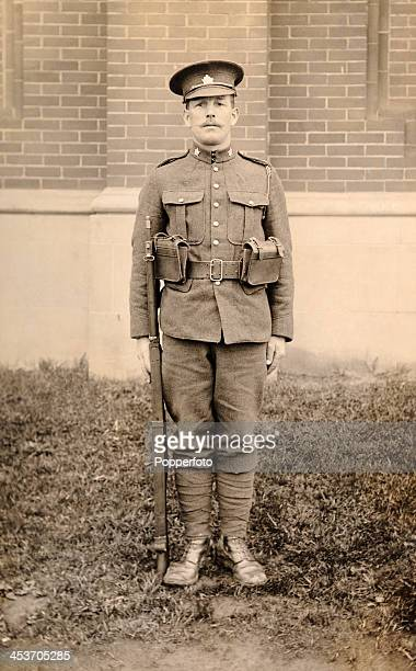 A member of the 75th Battalion of the Canadian Expeditionary Force in Toronto before he was sent overseas during World War One on 15th June 1916