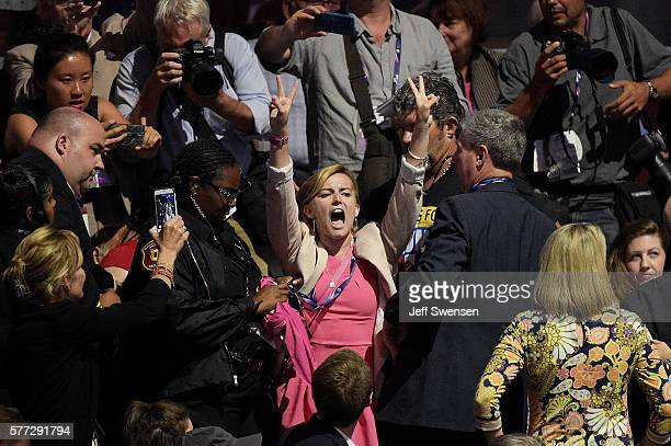 A member of the activist group Code Pink demonstrates during Sen Jeff Sessions speech on the first day of the Republican National Convention on July...