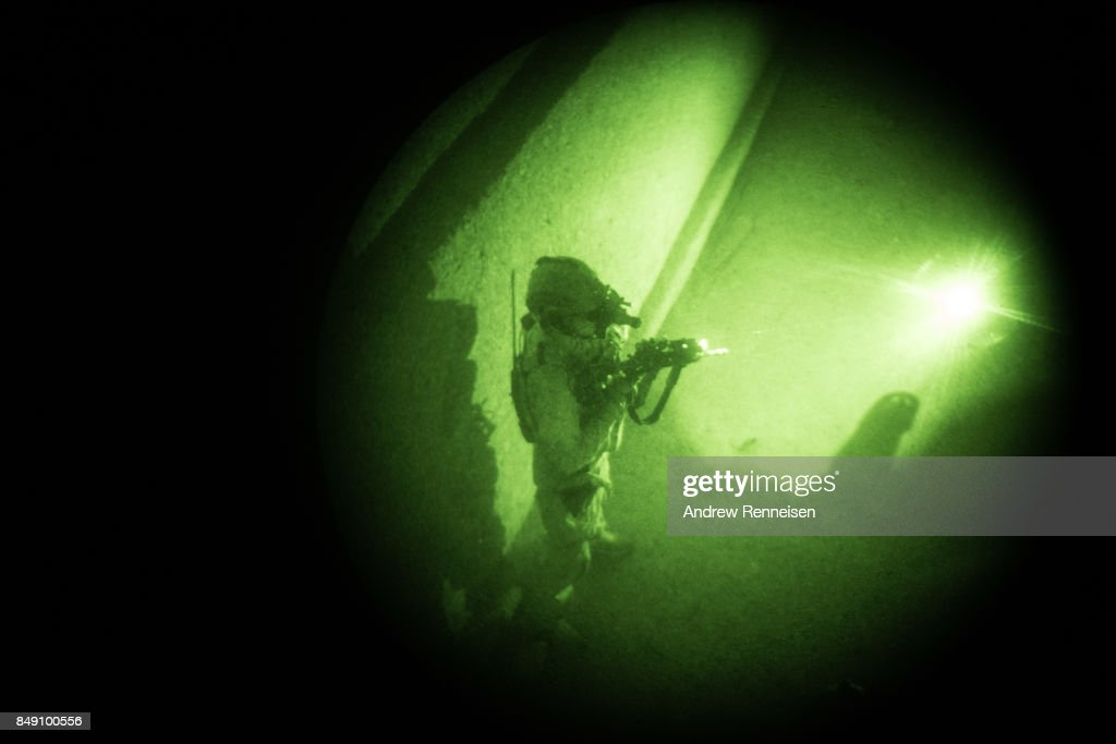 A member of the Afghan Special Forces is seen through a night vision goggle during casevac night training of Afghanistan Special Forces by the United States Army Special Forces Operational Detachment Alpha on September 10, 2017 at Camp Shorab in Helmand Province, Afghanistan. Currently the United States has about 11,000 troops in the deployed in Afghanistan, with a reported 4,000 more expected to arrive in the coming weeks. With the arrival of more troops, Resolute Support, the coalition train, advise, and assist mission, hopes to train almost double the amount of Afghan Special Forces and Special Police Units.