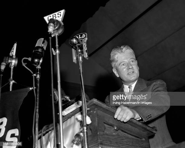Member of the America First Committee speaks to the crowd during a rally on October 30, 1941 at Madison Square Garden in New York, New York. The AFC...