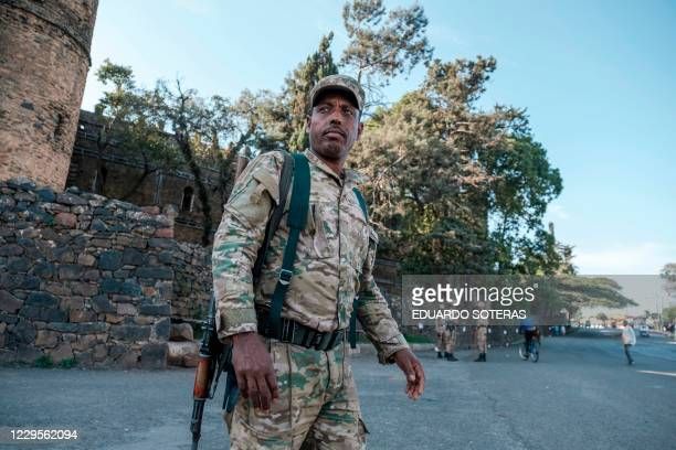 TOPSHOT A member of the Amhara special forces is photographed in the city of Gondar Ethiopia on November 07 2020