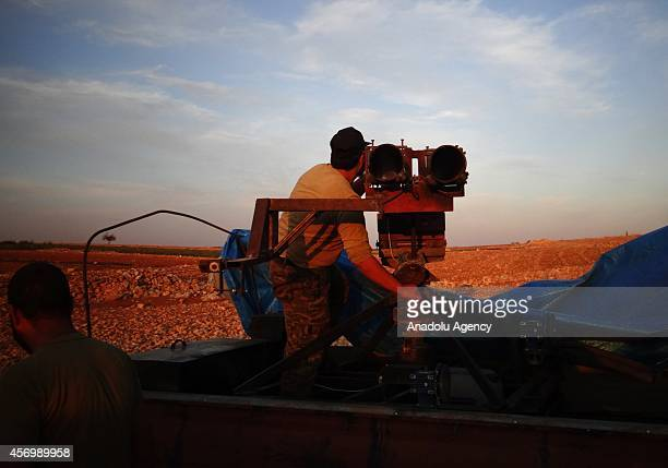 Member of the antiregimist forces checks the missile launcher during the joint operation of the Mujahideen brigade and Ahrar alSham brigade named...