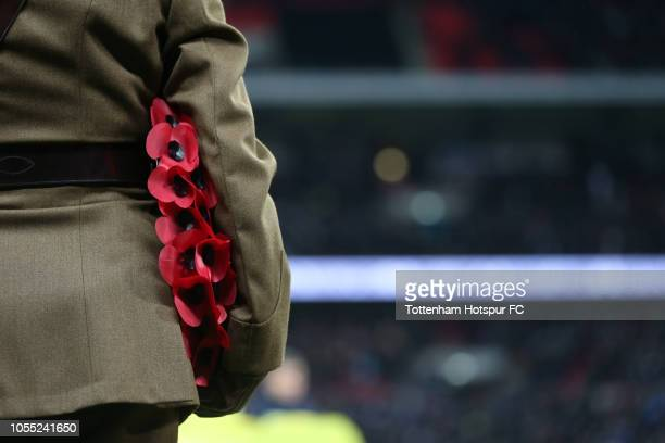 A member of the armed forces holds a poppy wreath prior to the Premier League match between Tottenham Hotspur and Manchester City at Wembley Stadium...