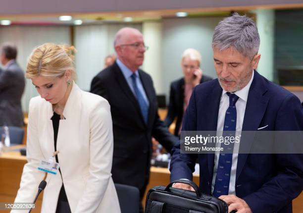 Member of the Assembly of Madrid Hana Jalloul Muro and the Spanish Minister of the Interior Fernando GrandeMarlaska attend an extraordinary Justice...