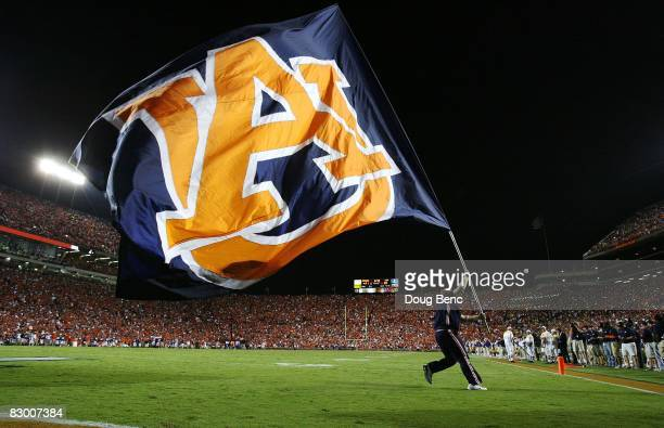 A member of the Auburn Tigers celebrates after the offense scored against the LSU Tigers at JordanHare Stadium on September 20 2008 in Auburn Alabama...