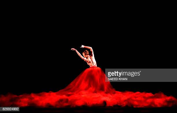 A member of the Australian ballet performs in the scene from 'Scent of Love' during the dress rehearsal for the national premiere of Symphony in C...