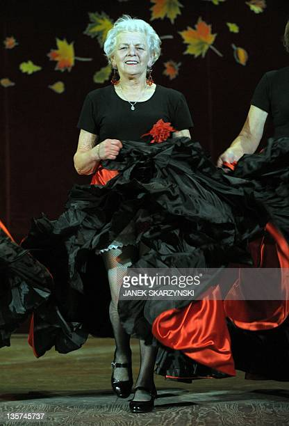 Member of the Barborka pensioniers dancers group Anna Nierobis performs a French Cancan on November 30 2011 at a community center in Lazy AFP PHOTO /...