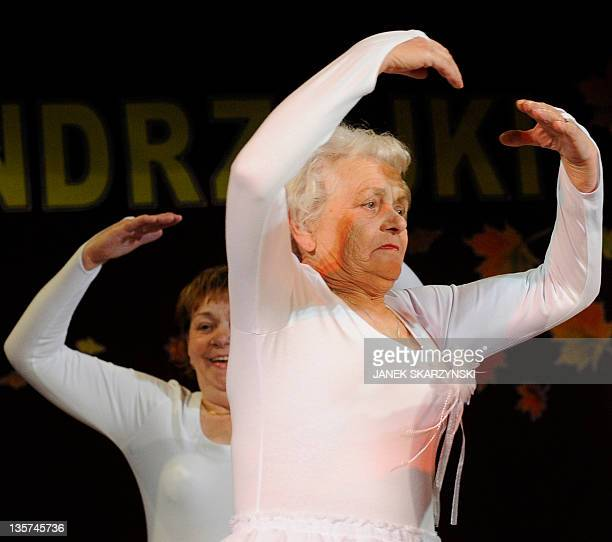 Member of the Barborka pensioniers dancers group Anna Nierobis performs Swan Lake on November 30 2011 at a community center in Lazy AFP PHOTO / JANEK...