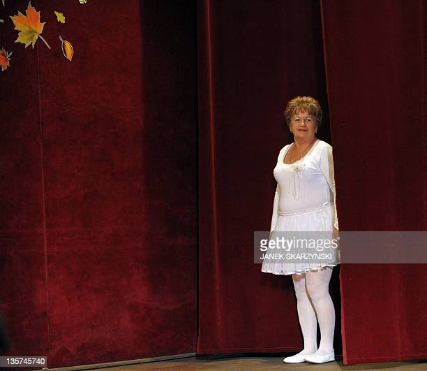 Member of the Barborka pensioniers dancers group Gabriela Koscielniak prepares to perform Swan Lake on November 30 2011 at a community center in Lazy...