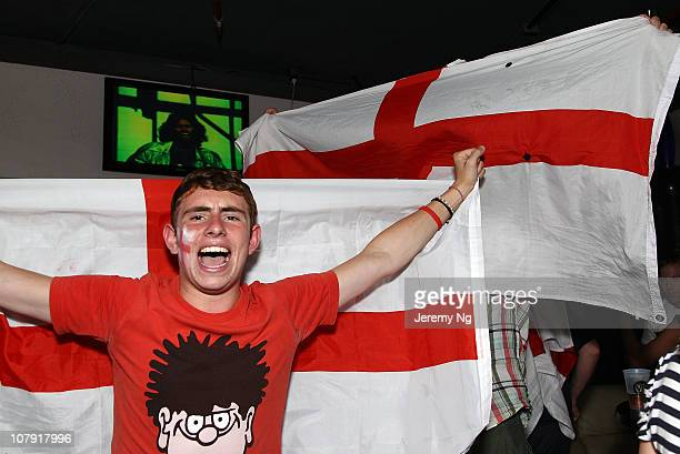 Member of the Barmy Army celebrates after England's Ashes win at the Retro on January 7, 2011 in Sydney, Australia. The English cricket team defeated...