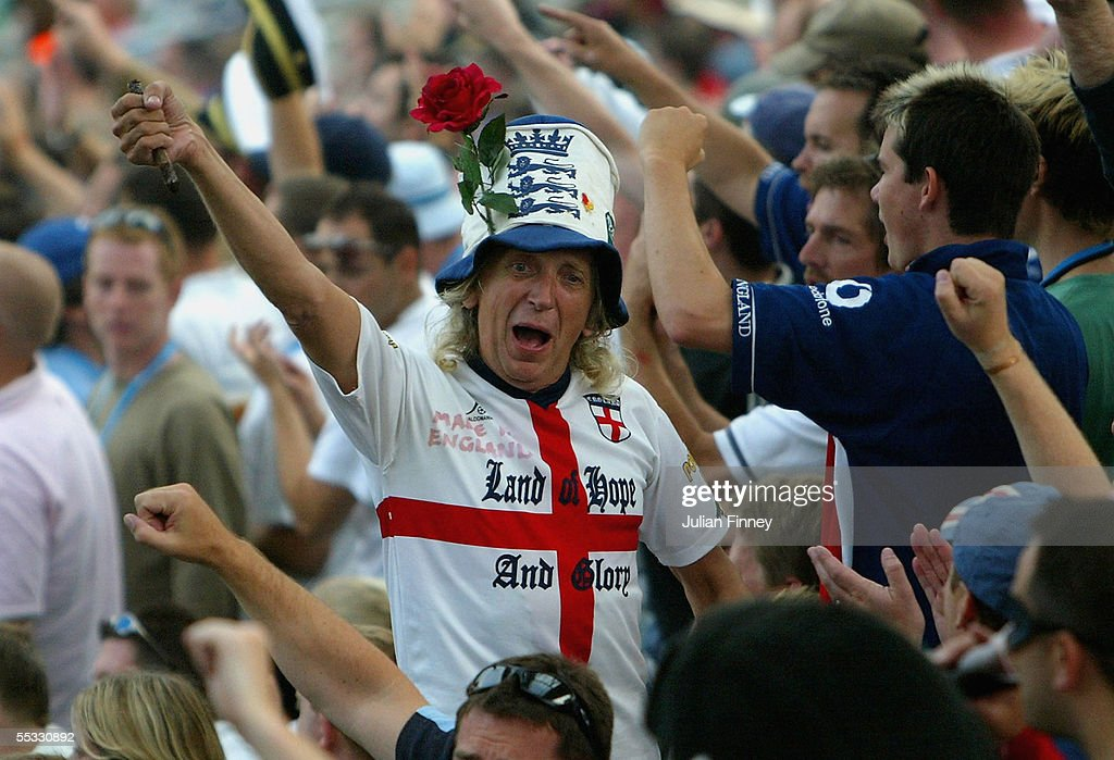 A member of the Barmy Army sings aloud during day three of the fifth npower Ashes Test match between England and Australia at the Brit Oval on September 10, 2005 in London, England.