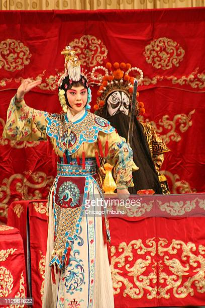 A member of the Beijing Opera in the production enjoyed on Uniworld's tour sings in the Liyuan Theatre