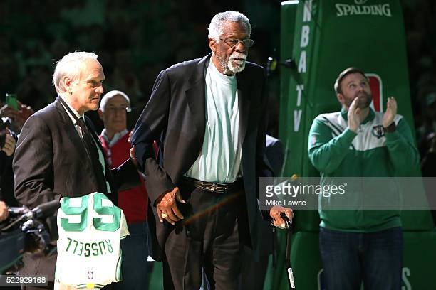 Member of the Boston Celtics 1966 Championship team Bill Russell is honored at halftime of the game between the Boston Celtics and the Miami Heat at...