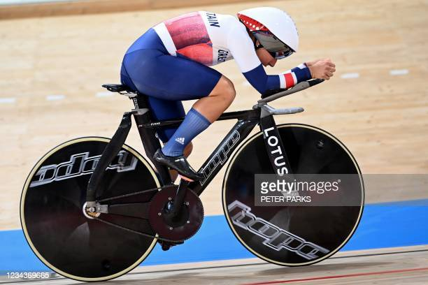 Member of the Britain team takes part in a cycling track training session during the Tokyo 2020 Olympic Games at Izu Velodrome in Izu on August 1,...