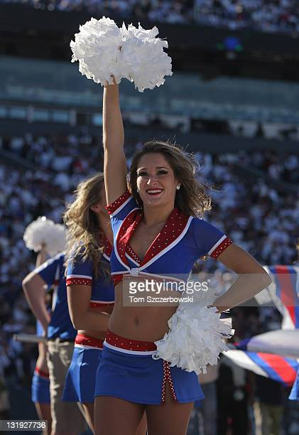 A member of the Buffalo Bills cheerleaders the Buffalo Jills before the NFL game against the New York Jets at Ralph Wilson Stadium on November 6 2011...