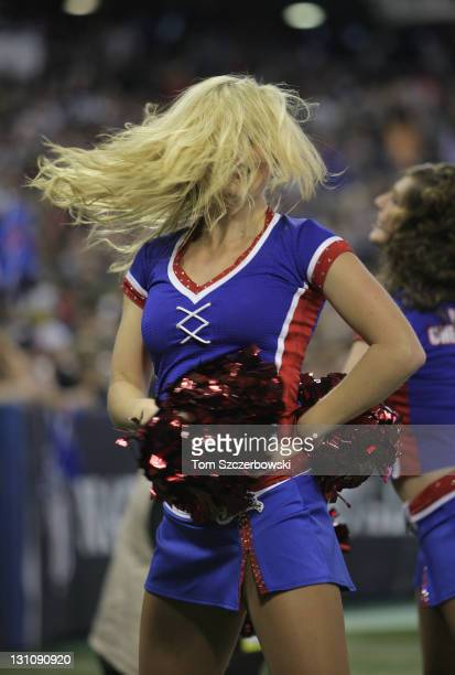 A member of the Buffalo Bills cheerleaders the Buffalo Jills dances during their NFL game against the Washington Redskins at Rogers Centre on October...