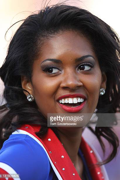 A member of the Buffalo Bills cheerleaders the Buffalo Jills during an NFL game against the New York Jets at Ralph Wilson Stadium on November 6 2011...