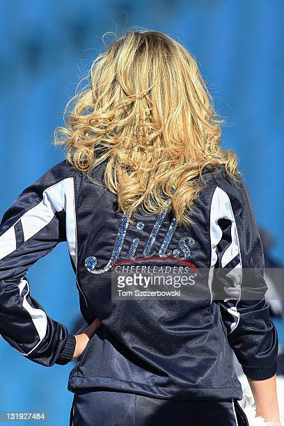 A member of the Buffalo Jills cheerleaders of the Buffalo Bills before an NFL game against the New York Jets at Ralph Wilson Stadium on November 6...