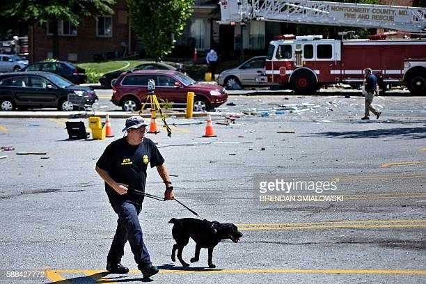 A member of the Bureau of Alcohol Tobacco Firearms and Explosives walks with a dog through a debris filled parking lot after an explosion at Flower...