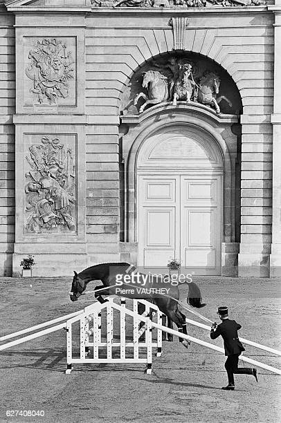 A member of the Cadre Noir of Saumur a horse training school for military and guardsmen performs at Versailles Saumur is the town where this school...
