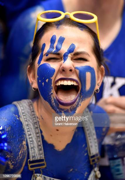 A member of the Cameron Crazies cheers for the Duke Blue Devils during the first half of their game against the Virginia Cavaliers at Cameron Indoor...