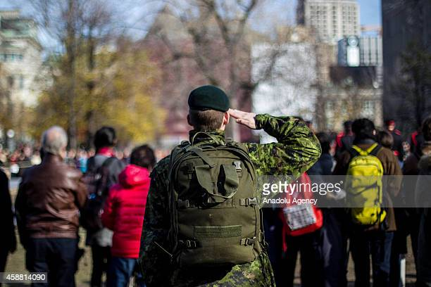 A member of the Canadian Forces takes part in the parade during a Remembrance Day ceremony which marks the anniversary of the official end of the...