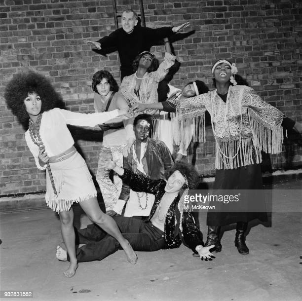 Member of the cast of rock musical 'Hair' wearing clothes designed by Herbert Siddon UK 17th September 1968