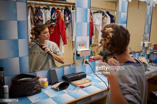 A member of the cast prepares backstage on the opening weekend of Cirque d'Hiver's new show 'Dingue' on October 17 2020 in Paris France Built in 1852...
