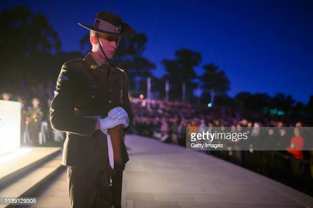 Member of the catafalque party during the Dawn Service at the Australian War Memorial on April 25, 2019 in Canberra, Australia. Australians...