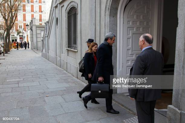 Member of the Catalan European Democratic Party Marta Pascal arrives at the Supreme Court on February 19 2018 in Madrid Spain Some Catalan...