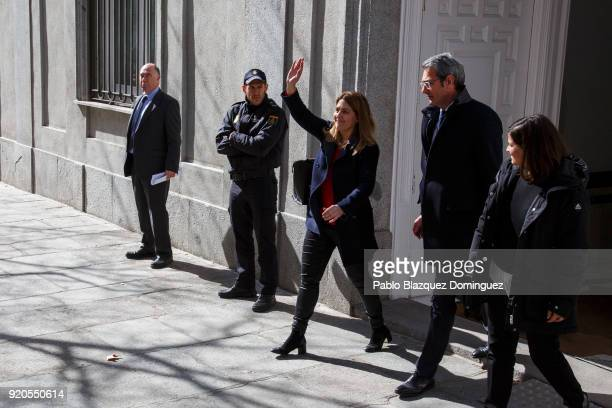 Member of the Catalan European Democratic Party Marta Pascal waves her hand to her supporters as she leaves the Supreme Court on February 19 2018 in...