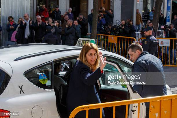 Member of the Catalan European Democratic Party Marta Pascal waves her hand to the press calling her name as she leaves the Supreme Court on February...