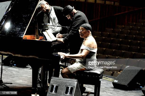 Member of the Cecil Taylor Quartet featuring from left saxophonist Anthony Braxton bassist William Parker and pianist Cecil Taylor rehearse together...