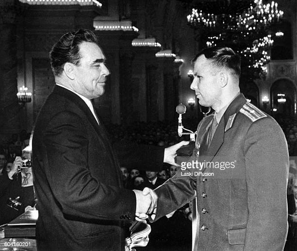 Member of the Central Committee of the Communist Party of the Soviet Union Leonid Brezhnev and first cosmonaut Yuri Gagarin in Moscow USSR on 19th...