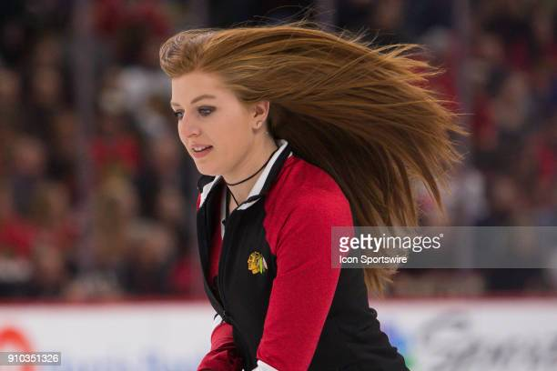 A member of the Chicago Blackhawks Ice Crew in action during a game between the Chicago Blackhawks and the Tampa Bay Lightning on January 22 at the...