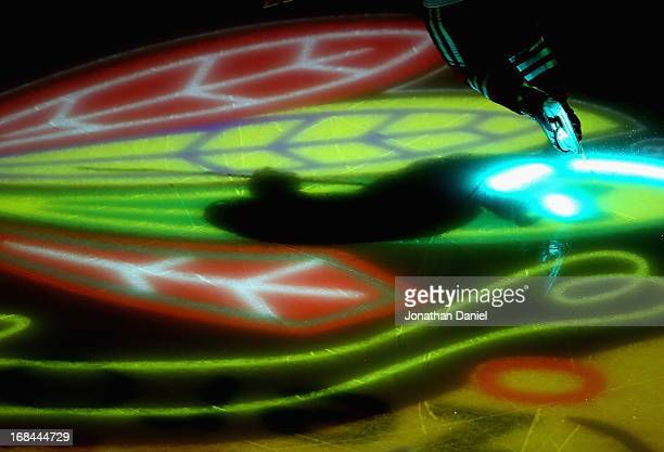 Member of the Chicago Blackhawks skates onto the ice during player introductions before taking on the Minnesota Wild in Game Five of the Western...
