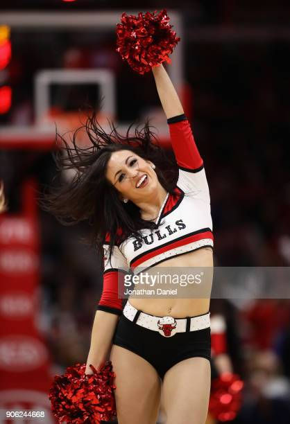 A member of the Chicago Bulls dance team performs during a break between the Bulls and the Miami Heat at the United Center on January 15 2018 in...