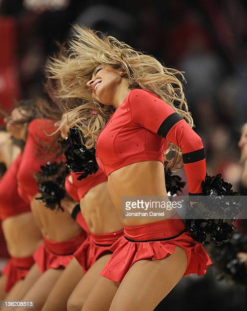 A member of the Chicago Bulls dance team The Luvabulls performs during a preseason game between the Bulls and the Indiana Pacers at the United Center...