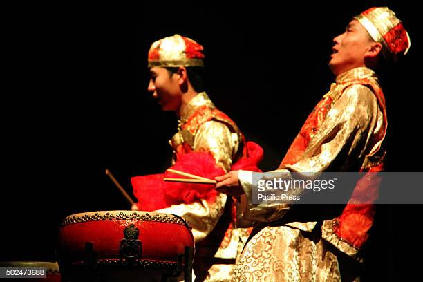 Member of the China Shanghai Jiangzhou Drum company, during a live show at the Plaza de Bolívar in Bogota. This is the largest and most important...