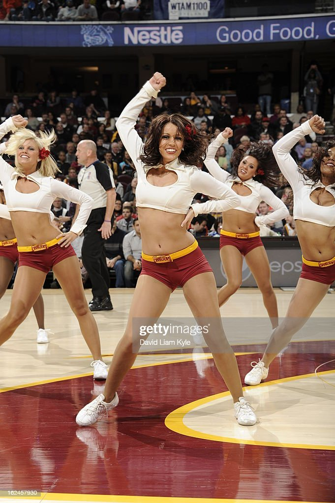 A Member of the Cleveland Cavaliers Dance Team gets the crowd pumped up against the Oklahoma City Thunder at The Quicken Loans Arena on February 2, 2013in Cleveland, Ohio.