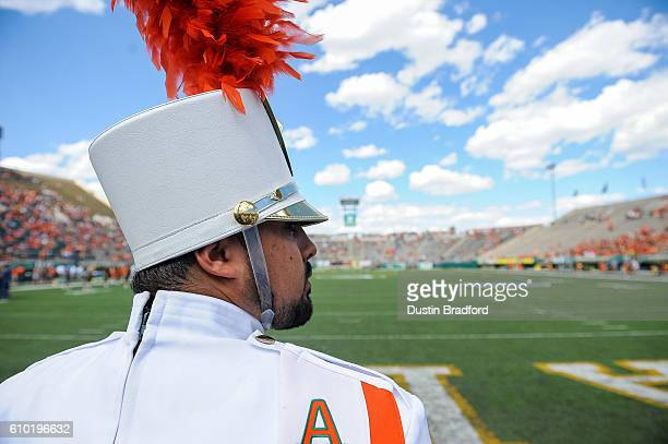 A member of the Colorado State Rams marching band performs before a game between the Colorado State Rams and the Northern Colorado Bears at Sonny...
