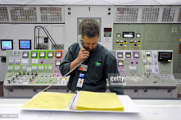 A member of the control room staff monitors the status of the Unit One reactor at Exelon Corp's Limerick nuclear power generating station in Limerick...
