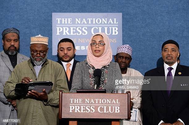 A member of the Council on AmericanIslamic Relations Zainab Chaudary speaks during a press conference in Washington DC on May 8 2014 to call for the...