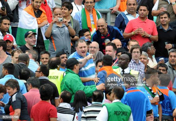 A member of the crowd argues with an Indian fan during the Third One Day International at The Kia Oval London