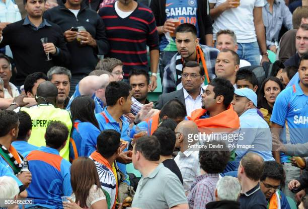 A member of the crowd throws a punch at an Indian fan during the Third One Day International at The Kia Oval London