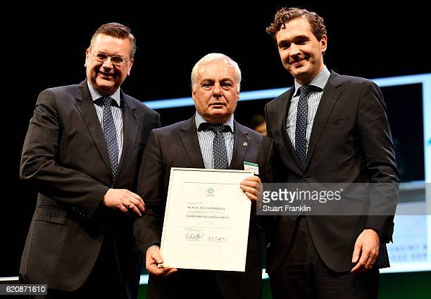 Member of the DFB executive board Klaus Reichenbach is honored with the DFB honorary membership by DFB president Reinhard Grindel and DFB General...